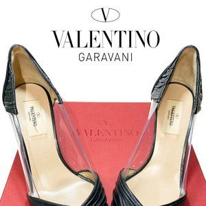 Valentino Garavani Leather Point Toe Pumps Sz 37
